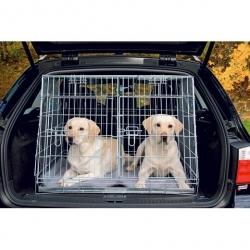 Cage de transport métal pliante - Double pour deux chiens