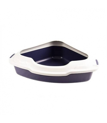 Bac à litière d'angle bleu avec rebord