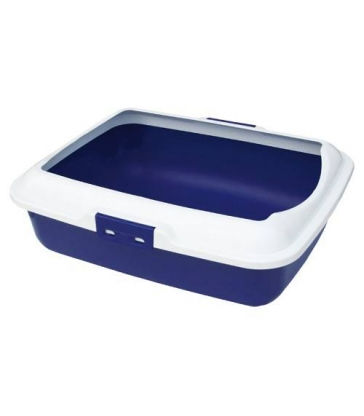 Bac à litière bleu avec rebord
