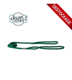 Laisse Expo nylon plate vert avec anneau chromé