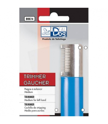 Trimmer IdealDog Gaucher Moyen 14 Dents Bleu