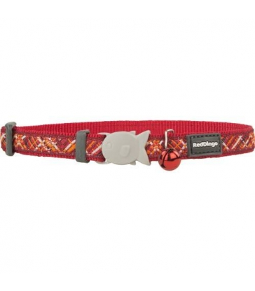 """Collier Red Dingo Chats Fantaisie """"Flanno"""" rouge"""