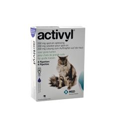 Activyl Cats 200 mg . Boîte de 4 pipettes