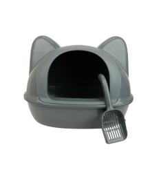 Bac à litière couvert Tête de chat . L52 x P40 x H36 cm - Gris