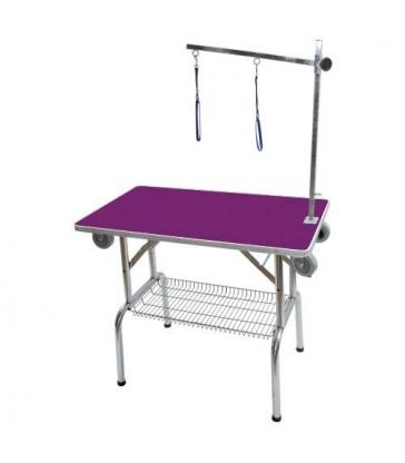 Table pliante à potence simple (avec roulettes) violette