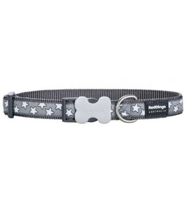 Collier chien Red Dingo gris étoiles blanches