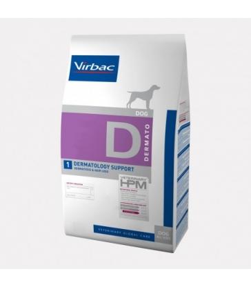 VIRBAC VET HPM CHIEN D1 Dermatology Support Sac de 12 kg