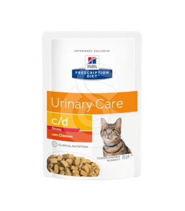 Feline C/D Urinary Stress Poulet Sachet repas. 12 sachets de 85 g