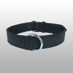 COLLIER CUIR DOUBLE noir 70 cm / 35 mm